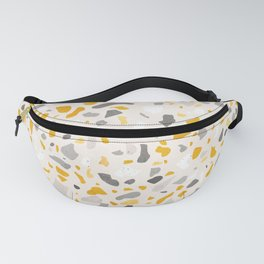 Terrazzo memphis vintage mustard yellow white grey black Fanny Pack