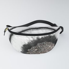 White Agate with Silver Glitter Glam #1 #gem #decor #art #society6 Fanny Pack