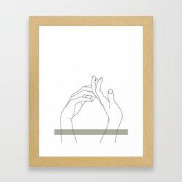 Hands line drawing illustration - Abi stripe Framed Art Print