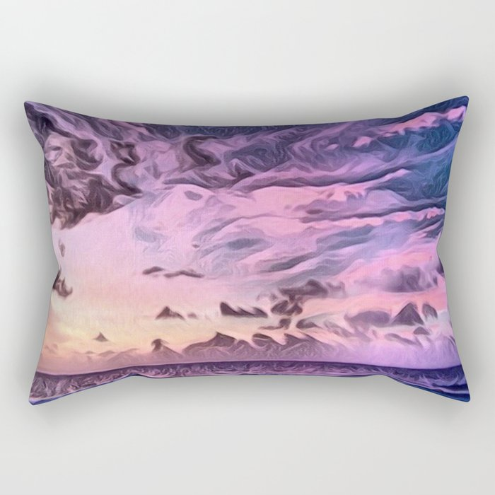 Hawaii Pacific Ocean Romantic Sunset (Painting) Rectangular Pillow