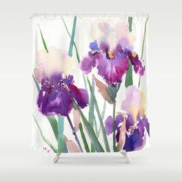 Irises, purple floral art, garden iris Shower Curtain