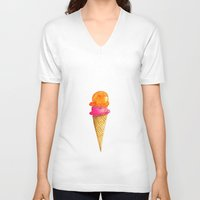 icecream V-neck T-shirts featuring Lovely Icecream by Ioana Petre
