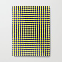 Electric Yellow and Navy Blue Diamonds Metal Print