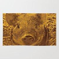 piglet Area & Throw Rugs featuring Metal golden Piglet by MehrFarbeimLeben