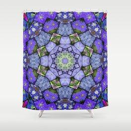 Garden mosaic kaleidoscope mandala - cool blues 2 Shower Curtain