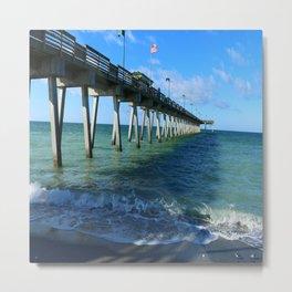 Fishing Pier on Venice Beach - Venice Florida Metal Print