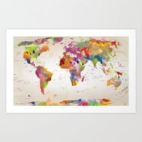 map Art Prints featuring map  by mark ashkenazi