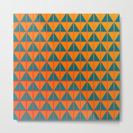 fiery triangle pattern in teal orange and red Metal Print