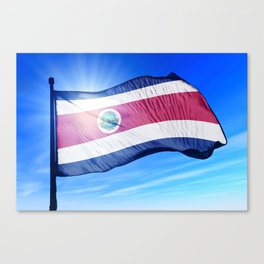 Costa Rica flag waving on the wind Canvas Print