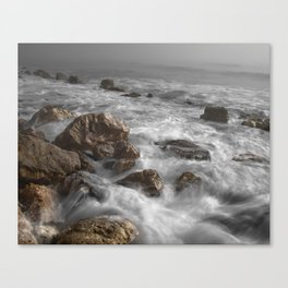 ocean waves brown rocks Canvas Print