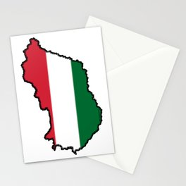 Hungary Map with Hungarian Flag Stationery Cards