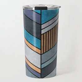 Colorful Concrete Chevron Pattern - Blue, Grey, Brown Travel Mug