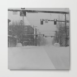 Snow Storm in Downtown - One Way Metal Print