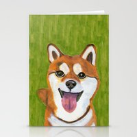 shiba inu Stationery Cards featuring Happy Shiba Inu by AnimalFrenzArt  -- Whimsical animal art