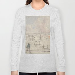 Vintage Montpelier Vermont Watercolor Painting (1841) Long Sleeve T-shirt