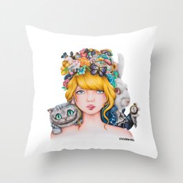 Alice in Wonderland Rendition Cartoonised Drawing Throw Pillow