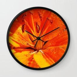 Morning Dew on Orange Lilies Wall Clock