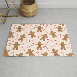 Gingerbread Man + Candy Cane Christmas Pattern Rug