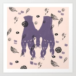 hands and leaves Art Print