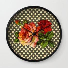 victorian red roses and polka dots Wall Clock