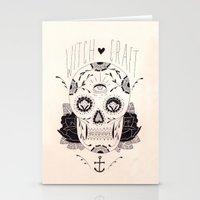 dia de los muertos Stationery Cards featuring Dia de los muertos by Thrashin