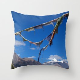 Prayer Flags in Manang Throw Pillow