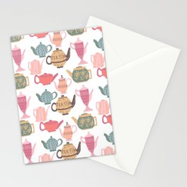 Vintage Tea Pots Time for Tea Multi on White Art Throw Pillow Stationery Cards