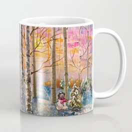 Winter Sunset Landscape Impressionistic Painting With Palette Knife Coffee Mug