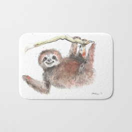 Happy is the Three Toed Sloth Bath Mat
