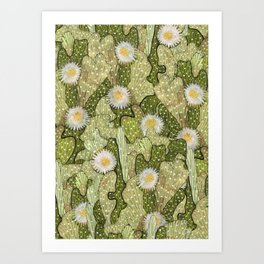 Cacti Camouflage, Floral Pattern, Khaki Olive Art Print