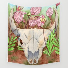 Bison in the Prairie Smoke Flowers Wall Tapestry
