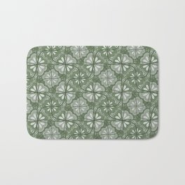 Continuous Flowers Pattern Tessellation in Green Bath Mat