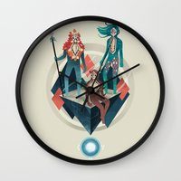 guardians Wall Clocks featuring The Guardians by Reno Nogaj