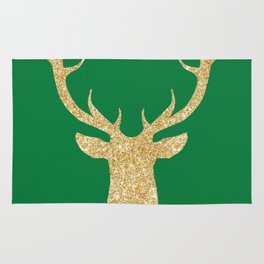 Deer Head Front Green Background Rug