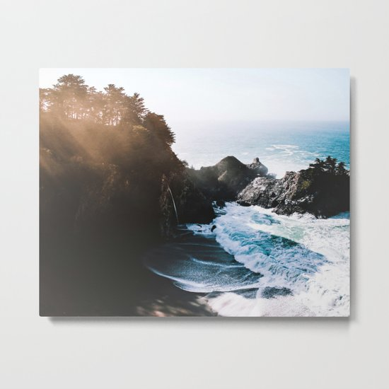 Cliff, Wave, and Beach Metal Print