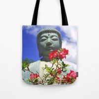 buddah Tote Bags featuring Buddah Serenity by Magmata