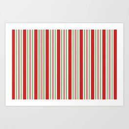 Red Green and White Candy Cane Stripes Thick and Thin Vertical Lines, Festive Christmas Art Print