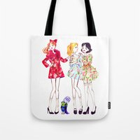 powerpuff girls Tote Bags featuring Powerpuff girls getting classy by Maëlle Rajoelisolo