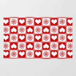 Christmas Snowflake Hearts Rug