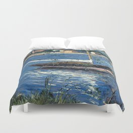 Gustave Caillebotte, Boat moored on the Seine at Argenteuil Duvet Cover