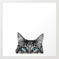 Cat Peeking Art Print