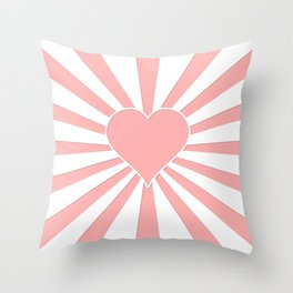 Pink Coral Valentine Love Heart Explosion Throw Pillow