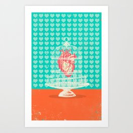 CAGED HEART Art Print