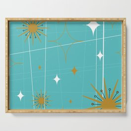 Atomic Burst Teal White and Gold Serving Tray