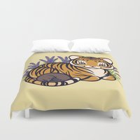 platypus Duvet Covers featuring Loafing Tiger, Hidden Platypus by Spoopy Surprise