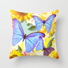 Bright Blue Butterflies Yellow Flowers #decor #society6 #buyart Throw Pillow