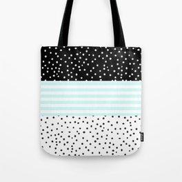 Modern black white teal stripes watercolor polka dots Tote Bag