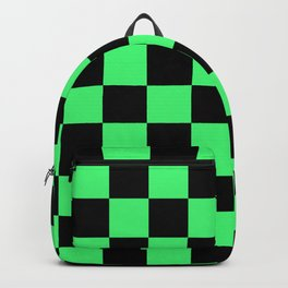 Black and Green Checkerboard Pattern Backpack