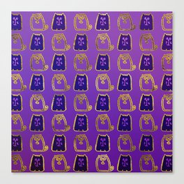 Cute whimsical Gold and purple Cat Pattern Canvas Print