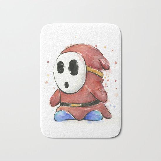 Shy Guy Watercolor Mario Art Bath Mat